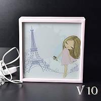 Ночной светильник в детскую Девочка в Париже (розовый)