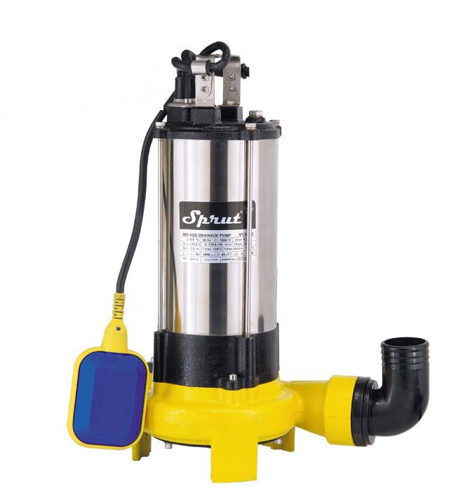 Дренажно-фекальний насос Sprut V 1300 D глибина занурення 5 м споживана потужність 1550 Вт
