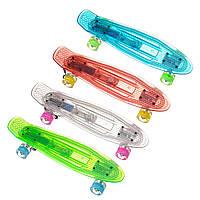 Прозрачный скейтборд Пенниборд скейт 850 Светящаяся дека, колёса PU СВЕТЯЩИЕСЯ