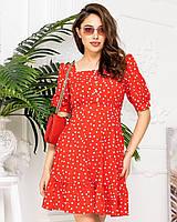 Платье в горох приталенное короткое, арт 427, цвет красный