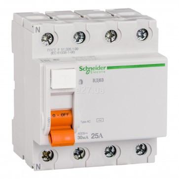 Диференційне  реле Schneider Electric Домовий(ВД63) 4p 25A 30mA 11460