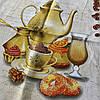Готове бавовняний рушник з чайником, туркою і кавовими зернами, 45х70 см