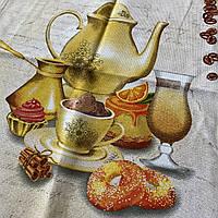Готове бавовняний рушник з чайником, туркою і кавовими зернами, 45х70 см, фото 1