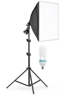 Комплект постійного студійного світла софтбокс Prolighting 50х70см + Стійка + Лампа 150 Вт.