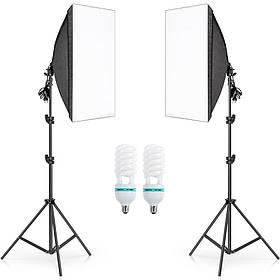 Комплект постійного студійного світла Prolighting 50х70см + Стійки + Лампи 150 Вт.