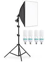 Набір постійного світла софтбокс на 4 лампи Prolighting 50x70 + Стійка + Лампи 150 Вт.