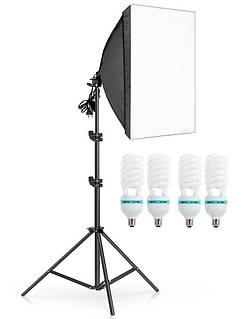 Комплект постоянного студийного света софтбокс на 4 лампы Prolighting 50x70 + Стойка + Лампы 150 Вт.