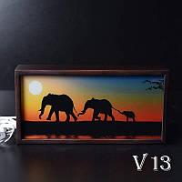 Ночной светильник в спальню Саванный слон (венге)