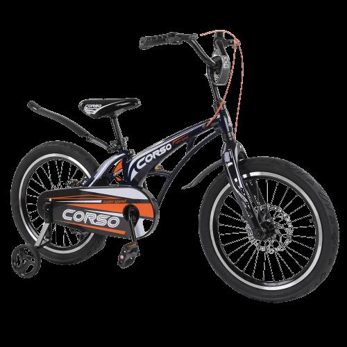 Велосипед детский для мальчика девочки 5 6 7 лет колеса 18 дюймов Corso MG-18008 магниевая рама