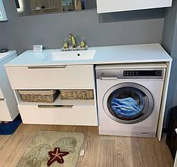 Тумба під пральну машинку Vivara 1500 (Віваріях) L/R, біла з умивальником
