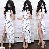 Женское Летнее Длинное Платье в горошек Белое