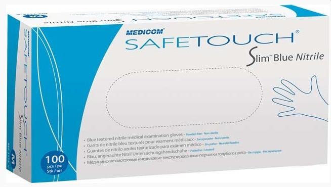 Перчатки SafeTouch Slim Blue нитриловые без пудры размер L 100 шт/уп.