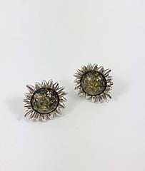 Сережки срібні з бурштином 347EAR-z