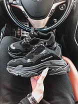 Кросівки Balenciaga Triple S All Black. Шкіряні чорні кросівки Баленсіага, фото 3
