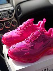 Кроссовки Balenciaga Triple S 2.0 Clear Sole Pink. Женские кожаные кроссовки Баленсиага розовые