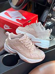 Кроссовки Nike M2K Tekno Pink. Женские кожаные кроссовки Найк розовые