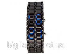 Часы из нержавеющей стали светодиодные оригинальные Samurai Черный с синим  Черный с синим
