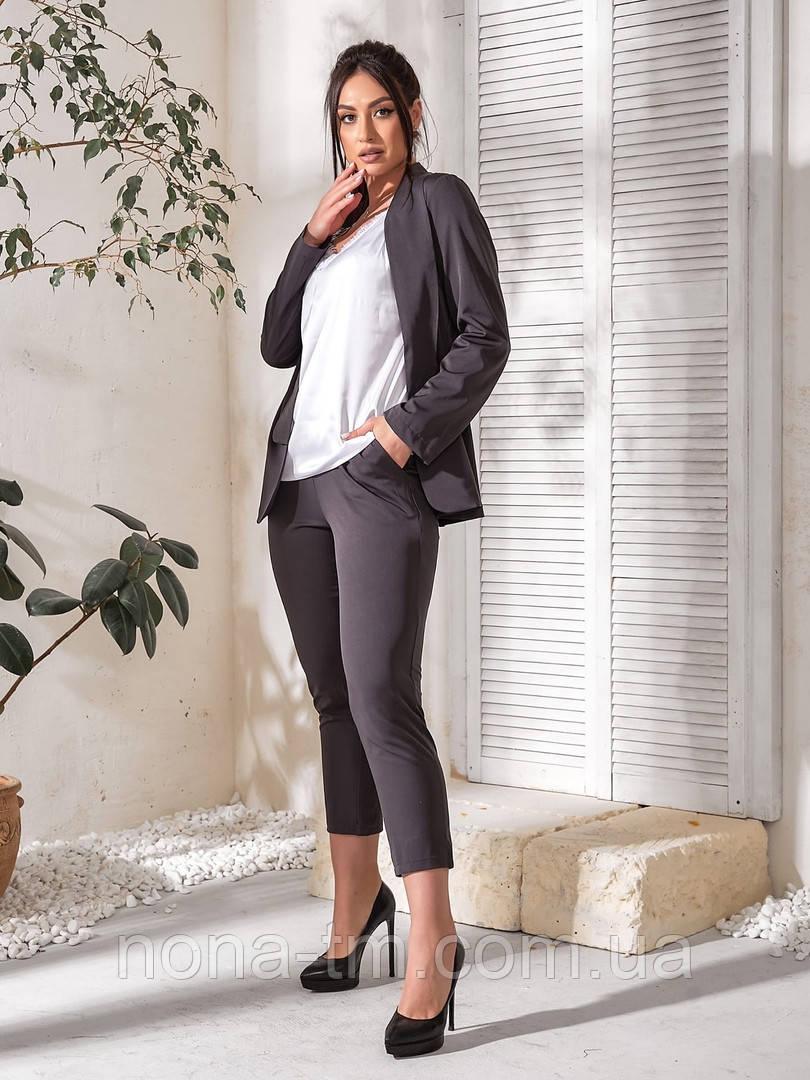 Жіночий костюм трійка (піджак, штани, футболка)великого розміру
