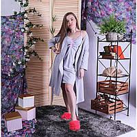 Жіночий комплект в пологовий будинок халат і сорочка, для вагітних і годуючих мам рожевий р. 42-54