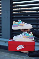 Кроссовки Nike Air Force Shadow Pale Ivory. Кожаные женские кеды Найк
