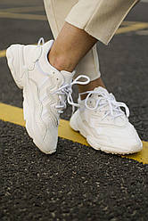 Кожаные кроссовки Adidas Ozweego White 36-45 р. Белые кроссовки Адидас Озвиго
