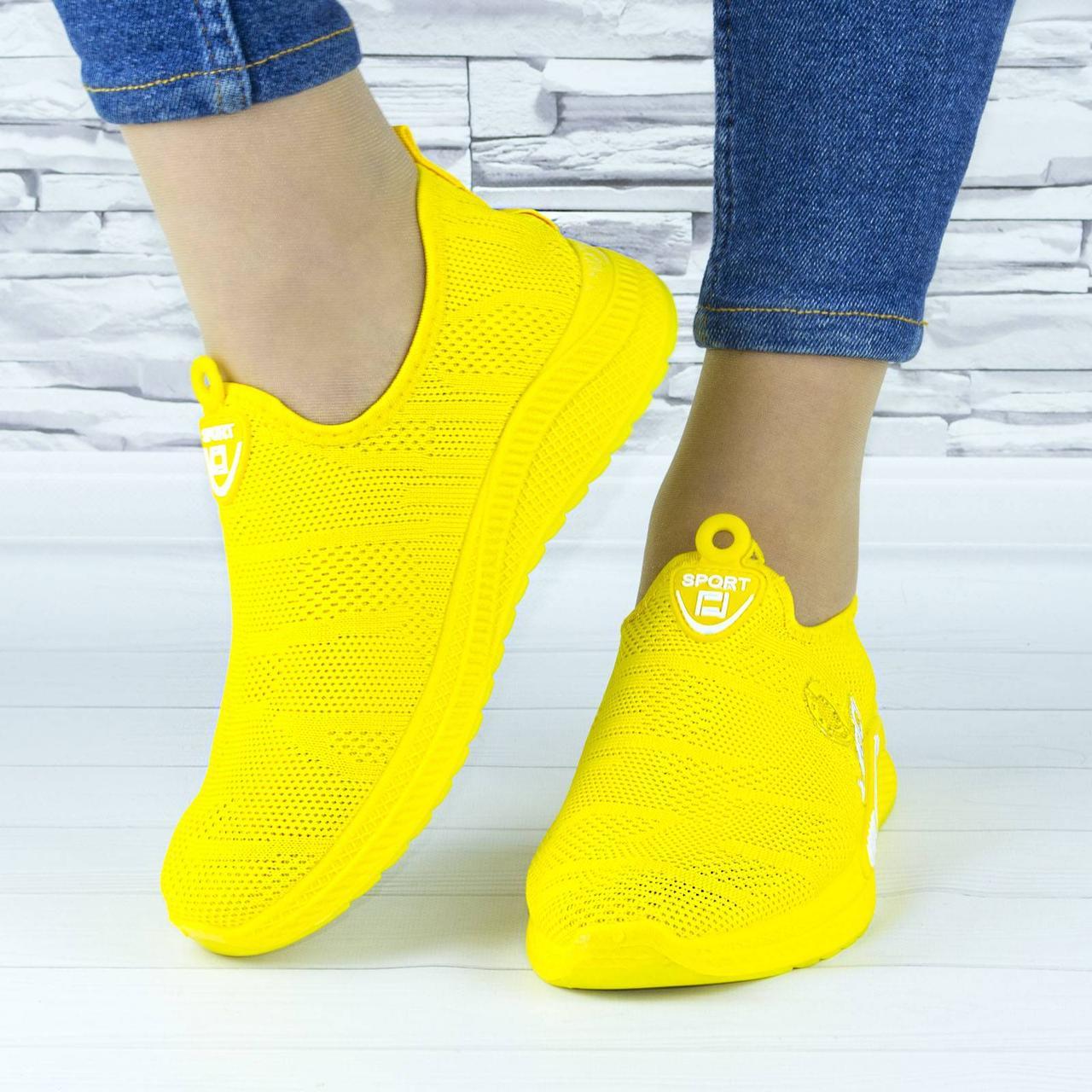 Кроссовки женские желтые текстильные сеточка (b-660)