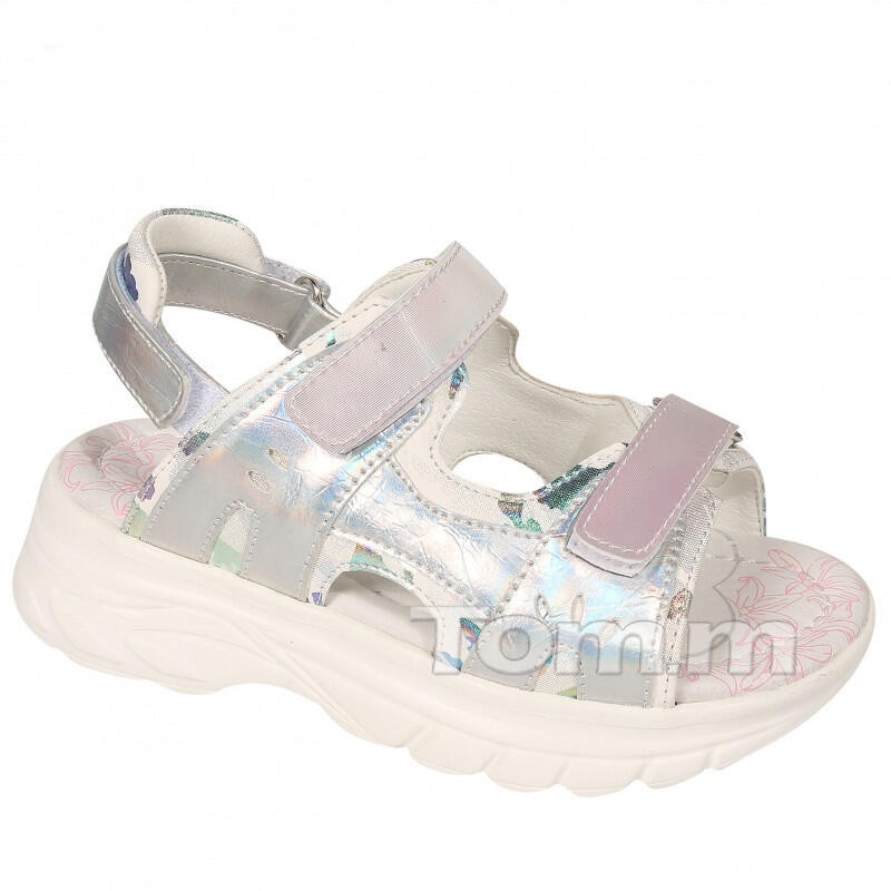 Детские босоножки девочкам ТомМ,  сандалии с голограммой на трёх липучках от TomM