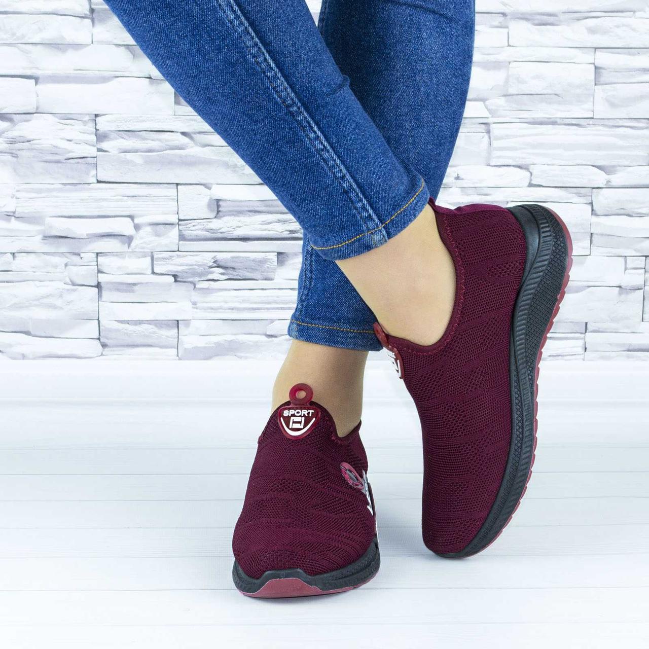 Кросівки жіночі бордові текстильні сіточка (b-661)