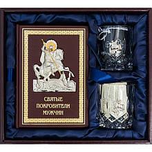 """Подарочный набор книга в кожаном переплете """"Святые покровители мужчин"""", бокалы и камни для виски"""