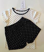 Пижама детская футболка и шорты в горошек