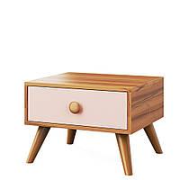 Тумба прикроватная, детская комната Колибри,орех марино/розовый, Свит меблив