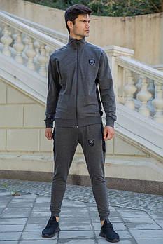 / Размер S,M,L,ХL,ХХL / Мужской спортивный костюм с молнией 154R100 / цвет cерый