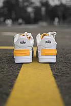 Кожаные кроссовки Nike Air Force Shadow Grey/Orange 36-40 р. Белые женские кроссовки Найк Аир Форс, фото 3