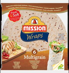 Тортилья пшенично-овсяная Mission Wraps, 6шт. (370г)