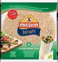 Тортилья пшеничная со средиземноморскими травами Mission Wraps, 6шт. (370г)
