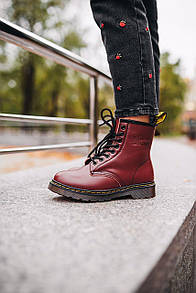 Женские Ботинки Dr. Martens 1460 Red (Мех)