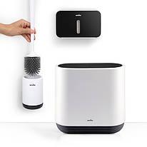 Набор для санузла MVM (бело-черный) (ершик настенный - ведро - держатель для туалетной бумаги)