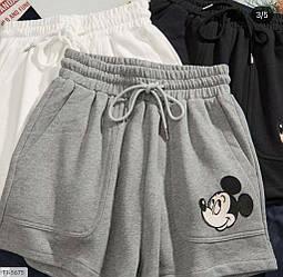 Серые тканевые шорты с принтом Микки-Мауса Grey