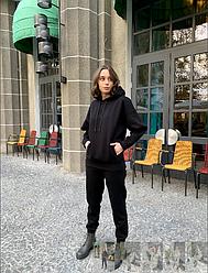 Жіночий чорний теплий спортивний костюм на флісі