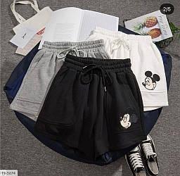 Чорні тканинні шорти з принтом Міккі-Мауса Black