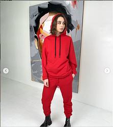 Красный женский спортивный костюм трехнитка
