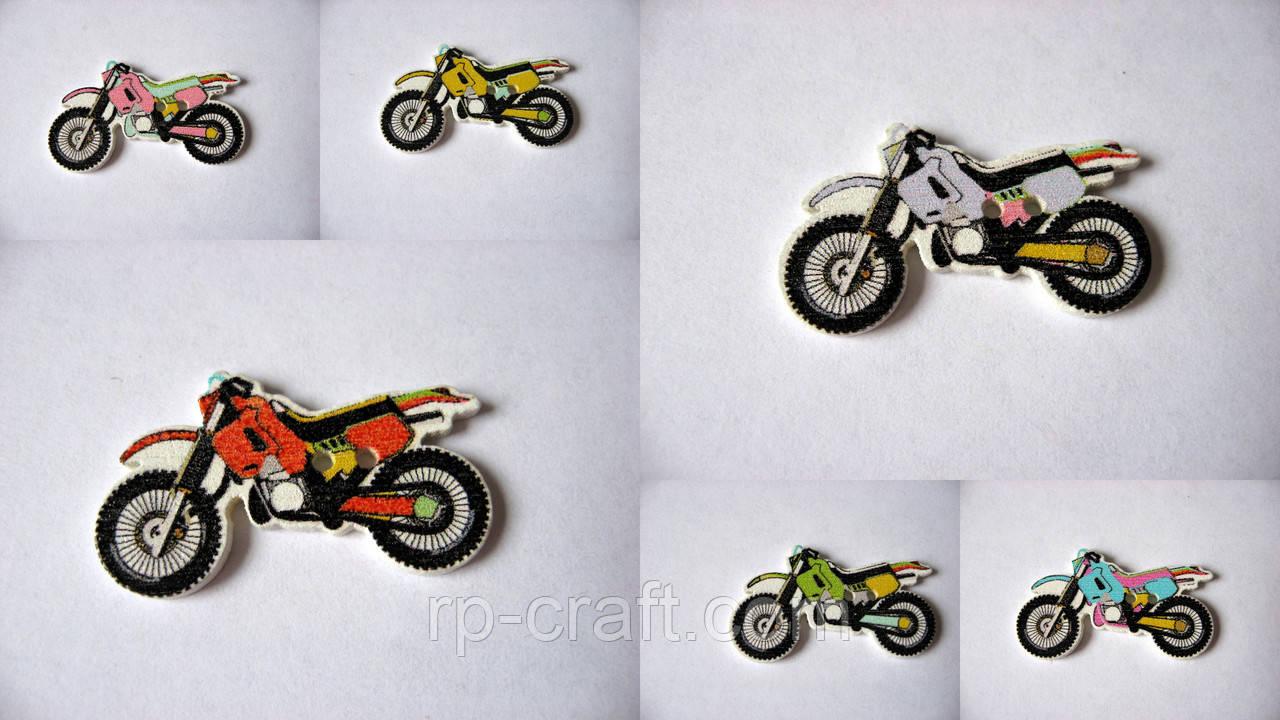 Гудзик дерев'яний, декоративний. Мотоцикл, 19х32 мм