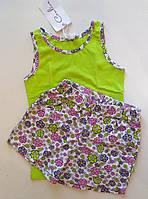 Пижама детская майка салатовая и шорты в цветочек