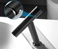 Смеситель для умывальника однорычажный кран горизонтальный монтаж WanFan для ванны Черный-хром