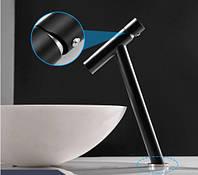 Смеситель для умывальника высокий излив однорычажный кран горизонтальный монтаж WanFan для ванны Черный-хром