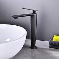 Смеситель дизайнерский для раковины кран в ванну однорычажный WanFan люкс качества Черный
