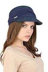 Кепка- жокейка из натуральной соломы синяя