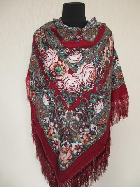 Роскошный шерстяной украинский платок Турция 1