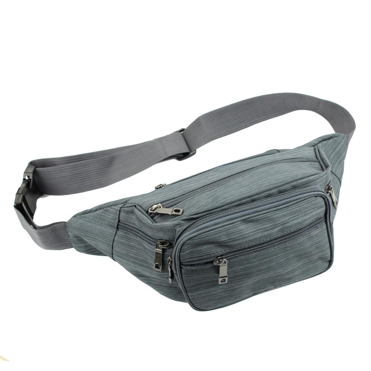 Поясная сумка-бананка текстильная унисекс, Серый