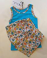 Пижама детская майка голубая и шорты в цветочек